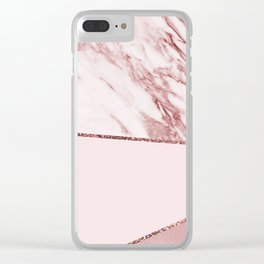 Spliced mixed pinks rose gold marble Clear iPhone Case