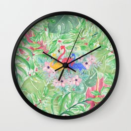 Tropical green pink watercolor colorful flamingo floral Wall Clock