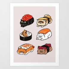 Sushi Persian Cat Art Print