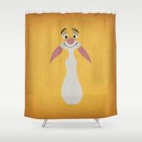 winnie the pooh Shower Curtains featuring Winnie the Pooh Rabbit Nursery Art Retro Style Minimalist Poster Print by The Retro Inc