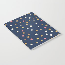 Hipster navy blue faux gold glitter modern polka dots Notebook