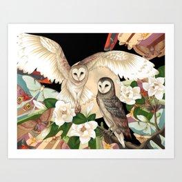 Owls + Moths Art Print