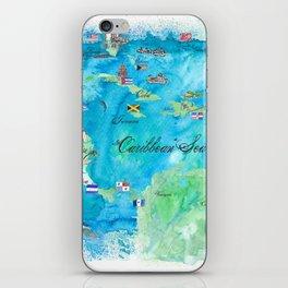 Caribbean Cruise Travel Poster Map Antilles West Indies Cuba Florida iPhone Skin