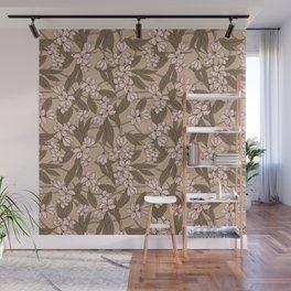 Sakura Branch Pattern - Pale Dogwood + Hazelnut Wall Mural