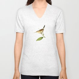 Straight-billed Wren Bird Illustration by William Swainson Unisex V-Neck