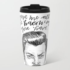 Ron Swanson. [Parks and Recreation] Metal Travel Mug