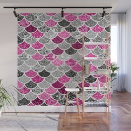 Pink, Silver and Cranberry Mermaid Scales Pattern Wall Mural