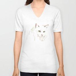 White cat Unisex V-Neck