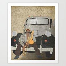Trombone musician and his 1946 Dodge pickup truck Art Print