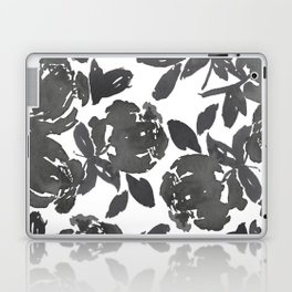 Grey Inky Watercolor Flowers Laptop & iPad Skin