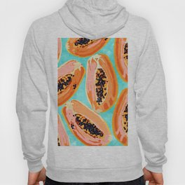 Big Papaya Watercolor Painting, Tropical Fruits Illustration, Colorful Summer Eclectic Food Hoody