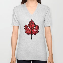 A Maple Leaf with Heart Unisex V-Neck