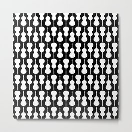 Double Bass Pattern - white on black Metal Print