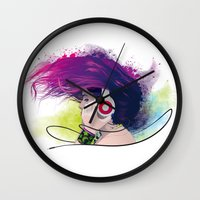 snatch Wall Clocks featuring Listen. by Lorenzo Imperato