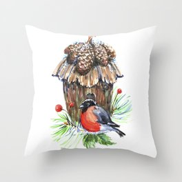 Bullfinch in the background of a cozy bird house. Throw Pillow
