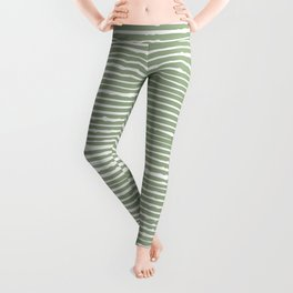 Stripes, Mudcloth, Sage Green, Boho Wall Art Leggings