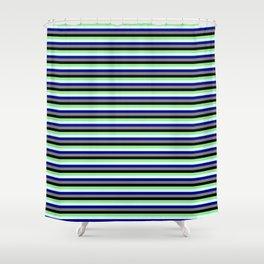 Colorful Light Green, Light Cyan, Dark Blue, Grey & Black Colored Lines/Stripes Pattern Shower Curtain