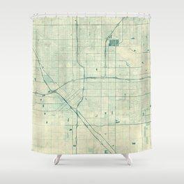 Fresno Map Blue Vintage Shower Curtain