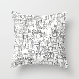 Russian cathedral church line drawing Throw Pillow
