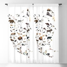 Wild North America map Blackout Curtain
