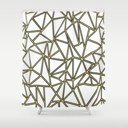 Ab Blocks White Gold Shower Curtain