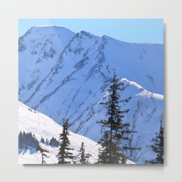 Back-Country Skiing  - V Metal Print