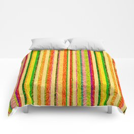 Colorful Stripes and Curls Comforters