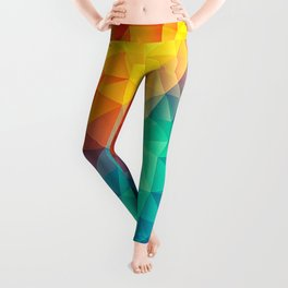 Abstract Polygon Multi Color Cubism Low Poly Triangle Design Leggings