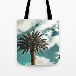 Lush Palm {1 of 2} / Teal Blue Sky Tree Leaves Art Print Tote Bag