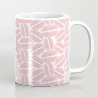 macaroon Mugs featuring Rose Pink Macaron Pattern - France Art - French Macaroon by French Macaron Art Print and Decor Store