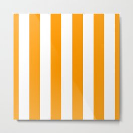 Bright Mango Mojito and White Wide Vertical Cabana Tent Stripe Metal Print