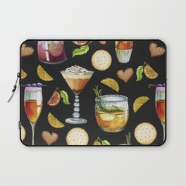 Cocktail and Biscuit Pattern Black Background Laptop Sleeve