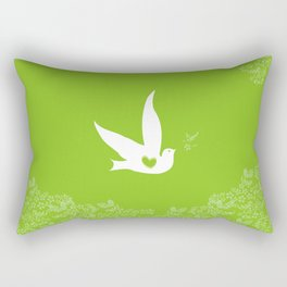 Wings of Love - Green Rectangular Pillow