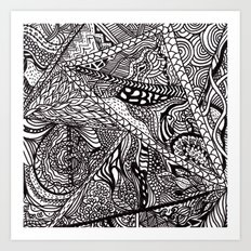 Black white Abstract Paisley doodle geometric pattern Art Print