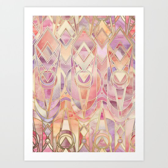 Glowing Coral and Amethyst Art Deco Pattern Art Print
