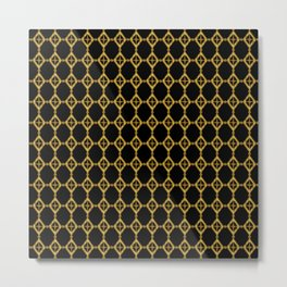 Gold Tone and Black Diamond Shapes Grid Metal Print