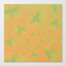Green Abstract Flowers on Mustard Canvas Print