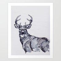 Oh My Deer Black and White Art Print