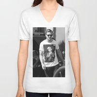 ryan gosling V-neck T-shirts featuring RYAN GOSLING WEARING T-SHIRTS MACAULAY CULKIN by nicksoulart