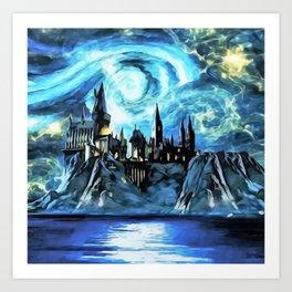 Starry night in H magic castle - part 2 Art Print