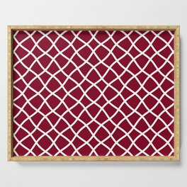 Dark red and white curved grid pattern Serving Tray
