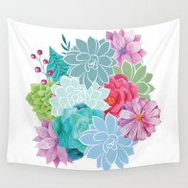 Flowers Succulents Floral Art Wall Tapestry