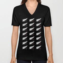 New Zealand Silver Fern Flag Black Pattern Unisex V-Neck