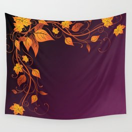 Maroon Autumn Leaves Wall Tapestry