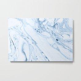 White & Blue-Gray Marble Metal Print