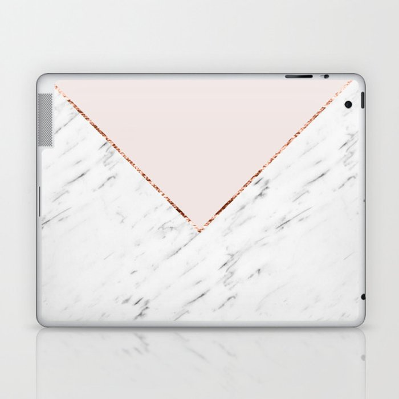 Peony blush geometric marble Laptop & iPad Skin