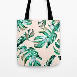Tropical Palm Leaves Coral Greenery Tote Bag