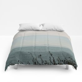 Turquoise Teal Blue Sunset Beach Ocean Seascape Landscape with Sail Boat Nautical Mountain Island  Comforters