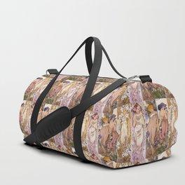 "Alfons Mucha, "" four flowers "" Duffle Bag"