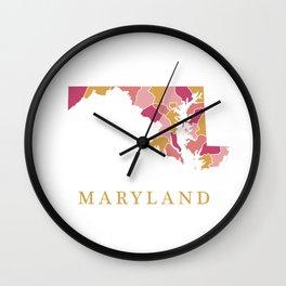 Maryland map Wall Clock